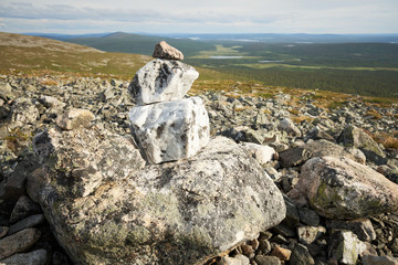 Stack of stones on a fell in Lapland