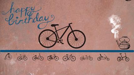 Aluminium Prints Bicycle vintage card with bicycle happy Birthday