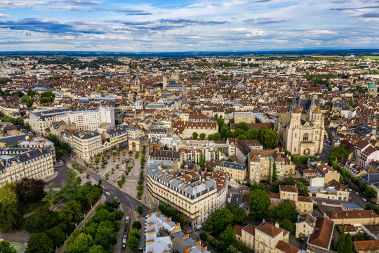 Beautiful aerial townscape scenery of Dijon city in Burgundy, France