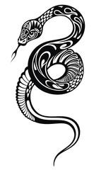Snake silhouette illustration. Vector tattoo design.