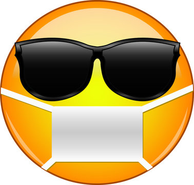 Cool emoticon wearing a mask. Yellow sick emoji wearing sunglasses and medical mask to protect from germs, viruses, air pollution and smog.