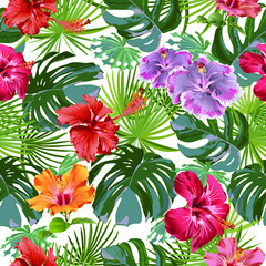 Large leaves of tropical plants with hibiscus flowers. Decorative composition on a white background. Bright picture. Floral motifs. Seamless patterns. Use printed materials, signs, objects.