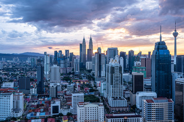 Wall Murals Kuala Lumpur city skyline in kuala lumpur