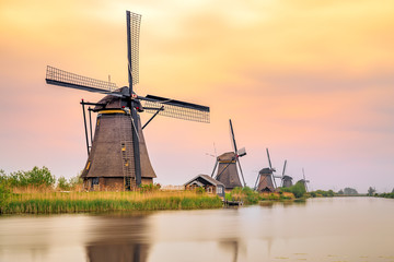 Windmills in Kinderdijk at sunset, The Netherlands
