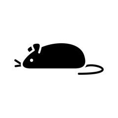 Cutout silhouette mouse icon. Outline logo of small pets, toy, home animal. Black simple illustration for extermination and control of rodents. Flat isolated vector image on white background