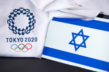 TOKYO, JAPAN, FEBRUARY. 8. 2020: Israel at summer olympic game in Tokyo 2020, national flag, black background