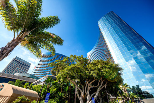 SAN DIEGO, CA - JULY 30, 2017: Marriott Marquis San Diego Marina modern buildings along the sea promenade on a beautiful summer day