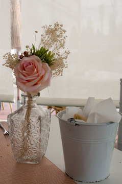 bouquet of a rose in centerpiece