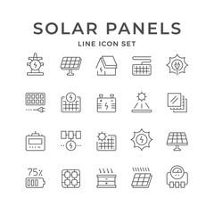 Set line icons of solar panels