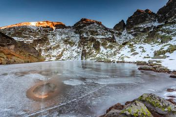 Frozen lake in Rila Mountains