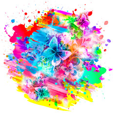 colorful paint splashes digital illustration with butterflies and flowers