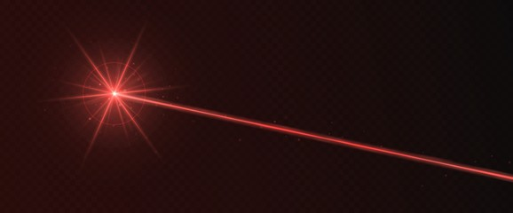 Red laser beam light effect isolated on transparent background. Neon light ray.