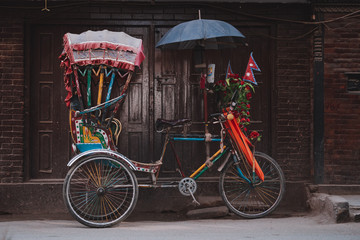 Aluminium Prints Bicycle Colorful traditional rickshaws parked in the streets of Thamel district in Kathmandu city, Nepal