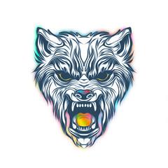monochrome artistic wolf muzzle isolated on white background