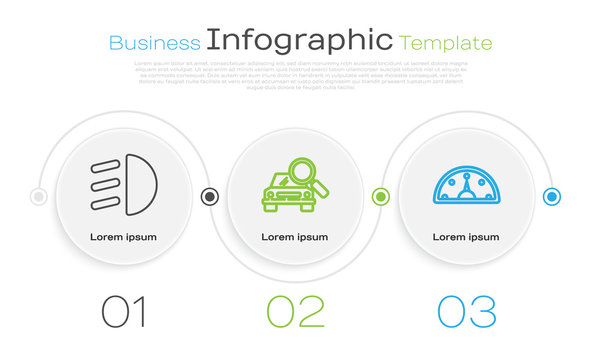 Set line High beam, Car search and Speedometer. Business infographic template. Vector
