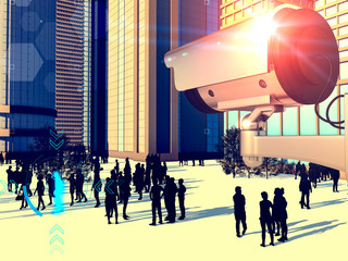 Surveillance cameras, city control. Breach of privacy. Global security. First aid. Territory control, law enforcement. Search for suspects. 3d render.