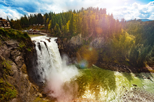 View of Snoqualmie Falls is a 268-foot waterfall in the northwest United States near Seattle, Washington, USA