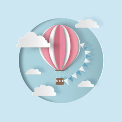 Hot air balloon with bunting flags and clouds. Paper cut style.  Carving art. Vector illustration