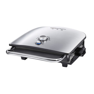 Sandwich Toaster Isolated on White Background. Stainless Steel Panini Presses Side View. Modern Domestic Electric Small Appliances.  Kitchen and Tabletop Tool