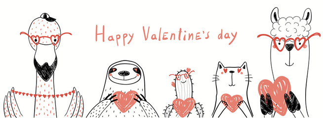 Hand drawn vector illustration of cute flamingo, sloth, cactus, cat, llama holding hearts, with text Happy Valentines day. Isolated objects on white. Line drawing. Design concept for kids card, banner