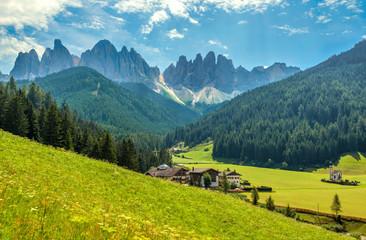 Spoed Fotobehang Blauw Amazing landscape scenery of Italy Alps - the Dolomites, in Alto Adige (South Tyrol) region