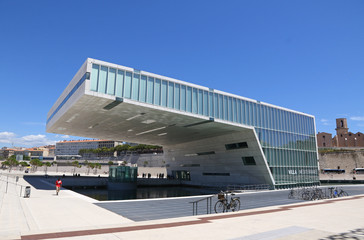 MARSEILLE, FRANCE - JUNE 20,2016: Museum of European and Mediterranean Civilisations (MuCEM; French: Musee des Civilisations de l'Europe et de la Mediterranee).Designed by the architect Rudy Ricciotti
