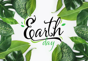 Text EARTH DAY and fresh tropical leaves on white background Fotomurales