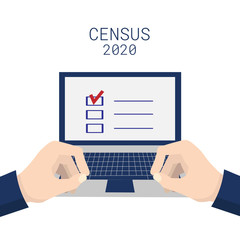 Population census 2020. Hands typing on a laptop keyboard. Isolated on white background. Vector stock illustration