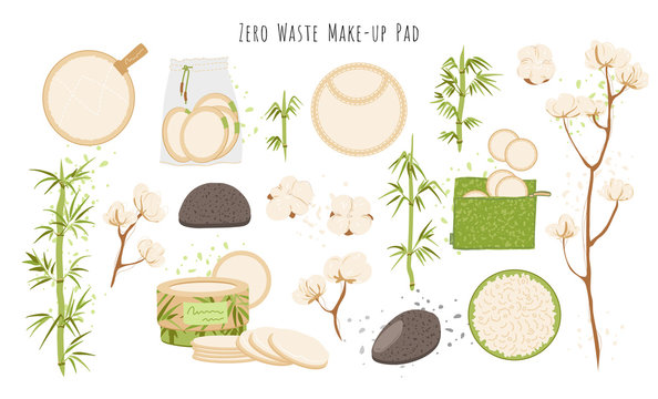 Organic Zero Waste Reusable Makeup Remover Pads vector set, Washable Eco-friendly Natural Bamboo Cotton Rounds. Washable Facial Cleansing Cloths for Eye Makeup Remove, Face Wipe illustration