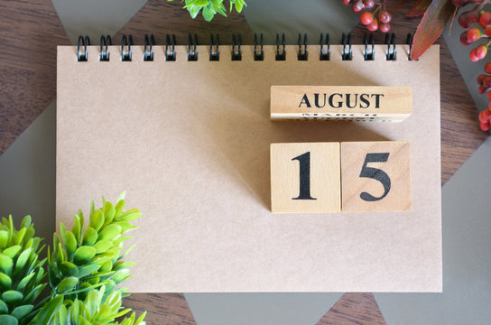 August 15, Appointment date with number cube design for background.