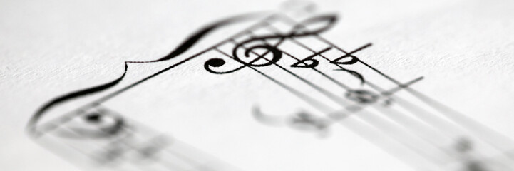 Musical notes printed on paper sheet