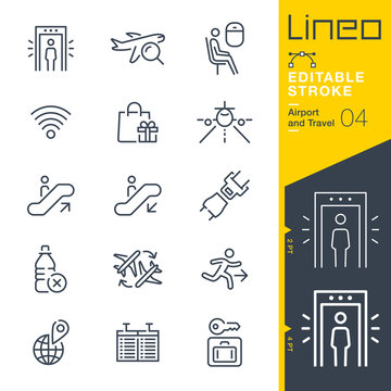 Lineo Editable Stroke - Airport and Travel outline icons