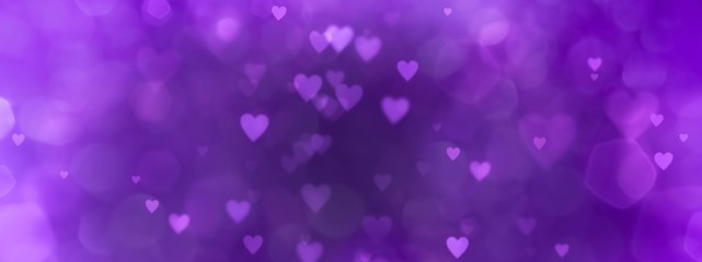 Fototapete - Abstract violet background with hearts - concept Mother's Day, Valentine's Day, Birthday - spring colors