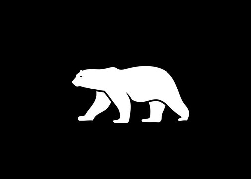 polar bear vector silhouette vector illustration,  polar bear logo vector  Isolated on white background.