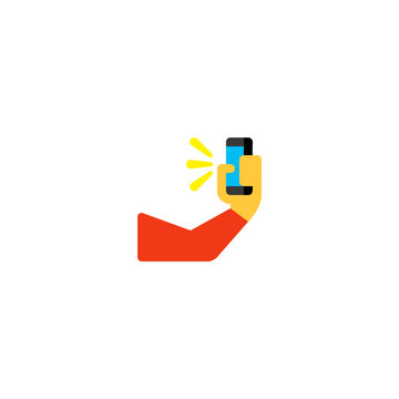 Selfie take photo vector flat icon. Isolated photo capture hand emoji illustration