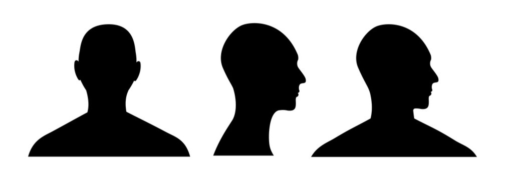 Front and side view silhouette of a male head. Anonymous man face avatar.