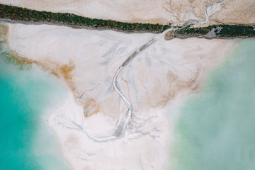 Aerial image of a cement basin near a cement factory