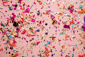 Bright colourful party sparkling party confetti background Wall mural
