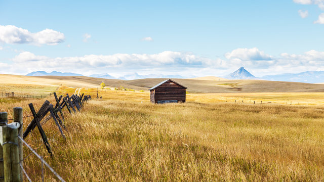 SIngle Barn in field with fence in foreground and mountain peak in background