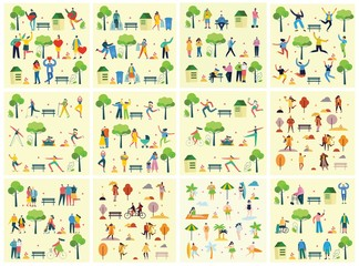 Vector illustration backgrounds in flat design of group peopledoing different activities outdoor in the park on weekend Wall mural