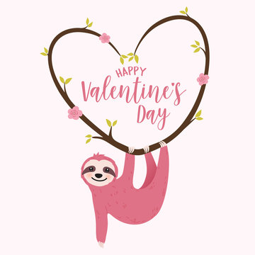 Valentine's day card with sloth hanging on heart shaped blooming tree branch - cute greeting for the celebration of love and romance