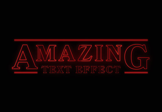 Glowing Retro Text Effect Mockup