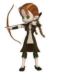 Cute toon Wood Elf archer girl with bow and arrows taking aim at her target, 3d digitally rendered illustration