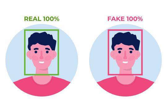 Deepfake, Deep face technology concept. Vector illustration
