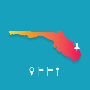 Florida map with set of different pins- vector illustration
