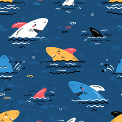 Colorful Cartoon Summer Sea Background for Kids. Vector Seamless Childish Pattern with Doodle Cute Shark Smiling Characters and Shark Fins, Sea Waves