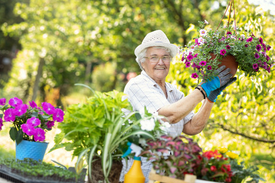 Proud senior woman with blooming flowers
