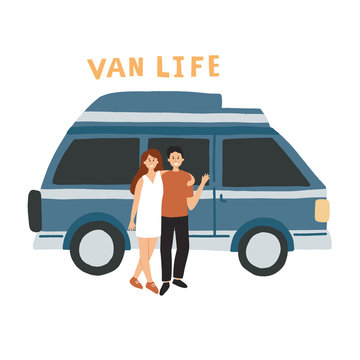 Couple living in a campervan. HAnd drawn vector illustration with lettering. Van life movement concept for banner, flyer.