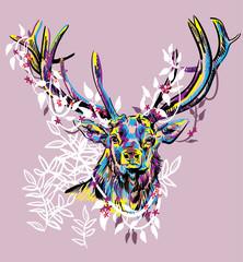 Printed kitchen splashbacks Butterflies in Grunge Deer with big horns. Stylish multi-colored print.