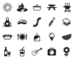 Picnic Or Barbecue Icons Black & White Set Big